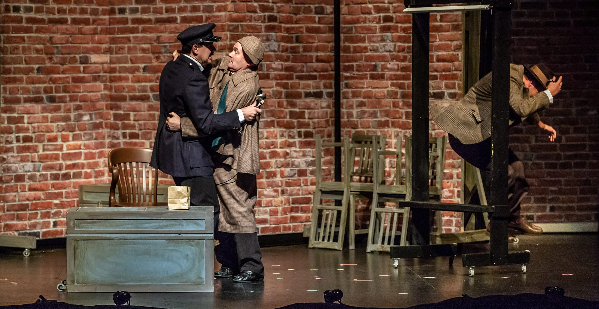 Sean Hauk, Sweeney MacArthur & Perry in THE 39 STEPS at Port Hope Capitol Theatre